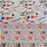 Dress Sewing Themed Fabric - Quality Upholstery, Curtain 100% Cotton Fabric,