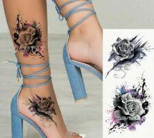 High Quality 19cm x 9cm Temporary Fake Tattoo PURPLE FLORAL ROSE /-b52-/