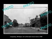 OLD LARGE HISTORIC PHOTO OF LAINGSBURG MICHIGAN, THE MAIN STREET & STORES c1900