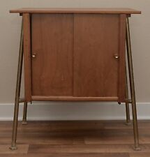 Mid Century Modern Wooden Record Cabinet Table Gold Legs Nightstand VTG 1960s