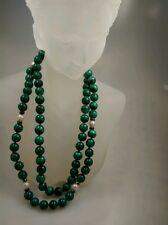 Pretty vintage Malachite pearl silver tone beads  necklace 32 inches