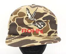 Vtg 80s Camo ROHN Cap Hat Snapback Trucker Hunter Duck Stylemaster USA Frog Skin