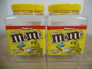 M&M'S PEANUT EMPTY PLASTIC 62 Oz. CONTAINERS WITH LIDS *Lot of 2*