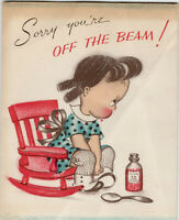 Sorry You're off the beam Susie Q Vintage Norcross Greeting Get Well Card 1940's