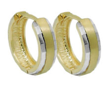 375 ECHT GOLD *** Creolen Ohrringe bicolor diamantiert 13 mm