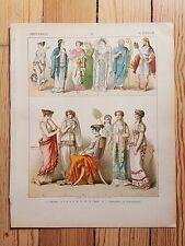 Historic Greek Costume - 1882 - Fashion History, Original Print, chromolitho