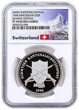 1998 Switzerland Shooting Festival Thaler Schwyz Silver 50F NGC PF70 UC SKU48972