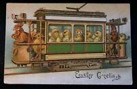 Easter~Fantasy Postcard- Chicks in Trolley Train Street Car ~1907~Embossed~s286