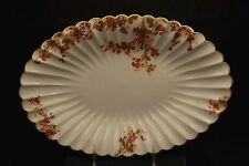 Haviland Limoges Torse Shape Oval Platter Rust Orange colored Flowers