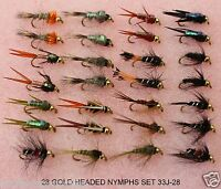 28 Brown Trout / Grayling Fly Fishing Flies GOLD HEADED NYMPHS  33J-28 FOR reel.