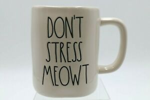 NEW Rae Dunn DON'T STRESS MEOWT White Mug / Cup for Cat Lover Large Letters