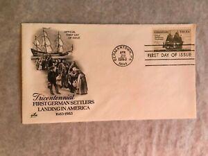 UNITED STATES USA 1983 FDC ART CRAFT 1ST GERMAN SETTLERS LANDING SHIP CONCORD