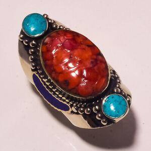 """Red Coral Tibetan Turquoise Lapis lazuli Gemstone Nepali Ring S-11"""" PUS-788"""