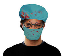 SURGEON SET BLOODY HAT AND FACE MASK HORROR GORE HALLOWEEN DOCTOR OPERATION FANC