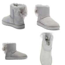 UGG MINI BAILEY TULLE BOW SUEDE SHEEPSKIN GREY VIOLET BOOTS SIZE 9 US