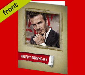 DAVID BECKHAM BIRTHDAY CARD Reproduction Autograph Signed A5 with white envelope