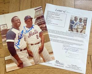 + Willie Mays Hank Aaron Auto Autograph Color 8x10 Photo JSA Authentication
