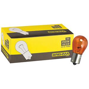 10er Pack BREHMA PY21W orange Blinkerlampe Kugel Lampe BAU15s 12V
