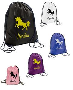 Personalised Girls Unicorn Drawstring PE Sports School Gym Book Bag