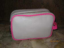 Bare Minerals Cream/Hot Pink Faux Leather Double Zip Cosmetic Bag NEW