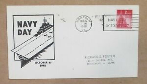 """NAVAL COVER """"NAVY DAY 1948 """"RECEIVING STATION  NORFOLK, VA """"  wSLOGAN See Pic"""