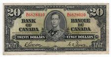Bank of Canada 1937 $20 Twenty Dollars Gordon-Towers B/E VF+ King George VI