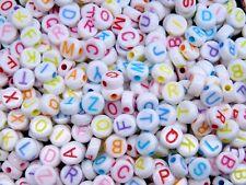 100 Pcs - 7mm White Alphabet Letter Beads Mixed Colour Round Kids Beads Q200