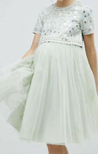 ASOS Maternity Embellished Crop Top Tulle Midi Layered Wedding/occasion Dress
