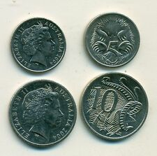 2 COINS from AUSTRALIA - 5 CENT w/ ANTEATER & 10 CENT w/ LYREBIRD (BOTH 2004)