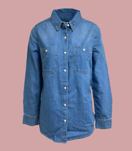 Target Denim Button Shirt Long Sleeve Casual Blue Size 8 - 18