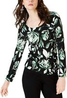 INC Womens Blouse Black Multi Size Large L Scoop Neck Floral Print $54 610