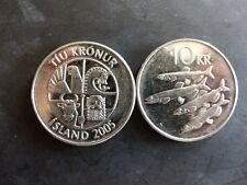 Pièce monnaie ISLANDE ICELAND 10 KRONUR 2005 poisson fish NEUF UNC NEW