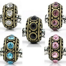 5PCs Mixed Spacer Beads Rhinestone Decoration Fit Charm Bracelets Bronze Tone
