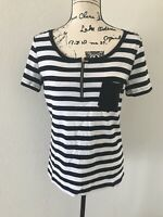 Jones New York Collection Women's Short-Sleeves Top Blouse Sz M White Black