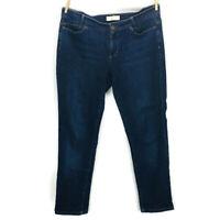 J.JILL Women Blue Denim Jeans SLIM BOYFRIEND STRAIGHT LEG Cotton Stretch Sz 8 P