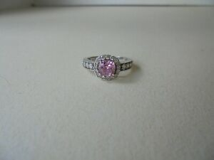925 Sterling Silver Pink & Clear CZ's Ring Size 7