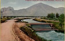 Irrigation Canal & Camel Back Mountain Dirt Road Phoenix Arizona AZ Postcard C20