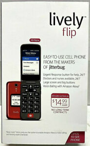Lively Flip GreatCall Easy to Use Cell Phone Large Screen & Big Buttons Red NEW