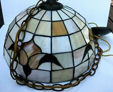 """Tiffany Style Hanging Pendant Lamp Brown Colors Tulip Flower Design 16"""" x 10"""""""