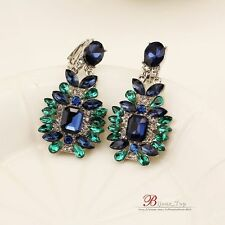Costume Fashion Clips on Earrings Silver Dangle Drop Green Blue Vintage J1
