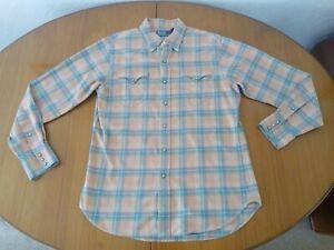 Ralph Lauren Shirt Medium Western Style Orange Green Check Lumberjack Polo