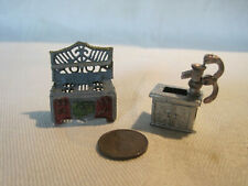 Vintage tiny 1:48 soft metal miniature dollhouse stove and water pump