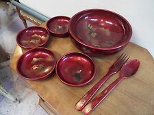 Vintage Japanese Lacquerware Salad Bowl Server Set w/ Utensils