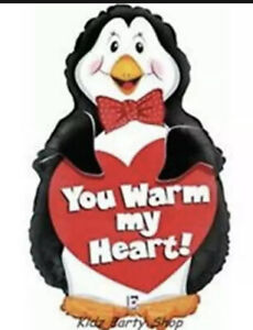 """Love Party - Giant  - 25"""" Shaped Penguin Foil Balloon - YOU WARM MY HEART Sale"""