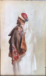 Antique Art Watercolor Painting Middle East North Africa Tribesman In Costume