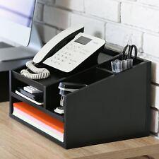 Desk Organizer Desktop Phone Stand File Supplies Black,Home&Office