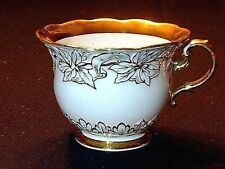 Antique HPTD Meissen Porcelain Cup With Gold Gilded Raised Floral Motif