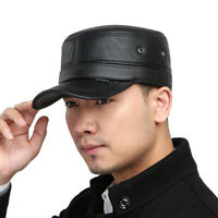 Women Men Leather Biker Flat Cap Motorcycle Peaked Adjustable Trucker Hat Black