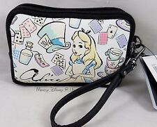 Disney Alice In Wonderland Double Zip Faux Leather Coin Purse Wristlet Wallet