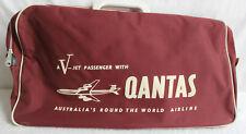 VINTAGE QANTAS AIRLINE V JET PASSENGER 1960S CARRY HOLD ALL BURGUNDY BAG